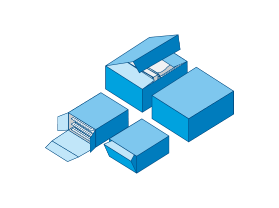 Folding boxes can be cartoned either via side loading or top loading.