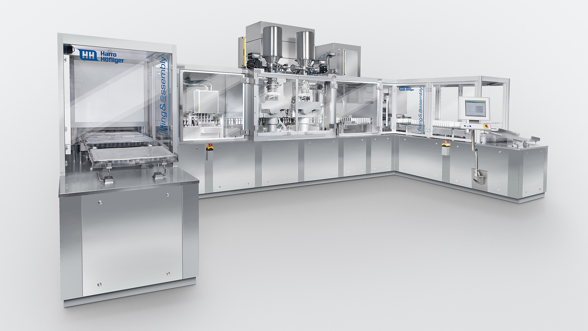 Containment for inhaler powder filling line.