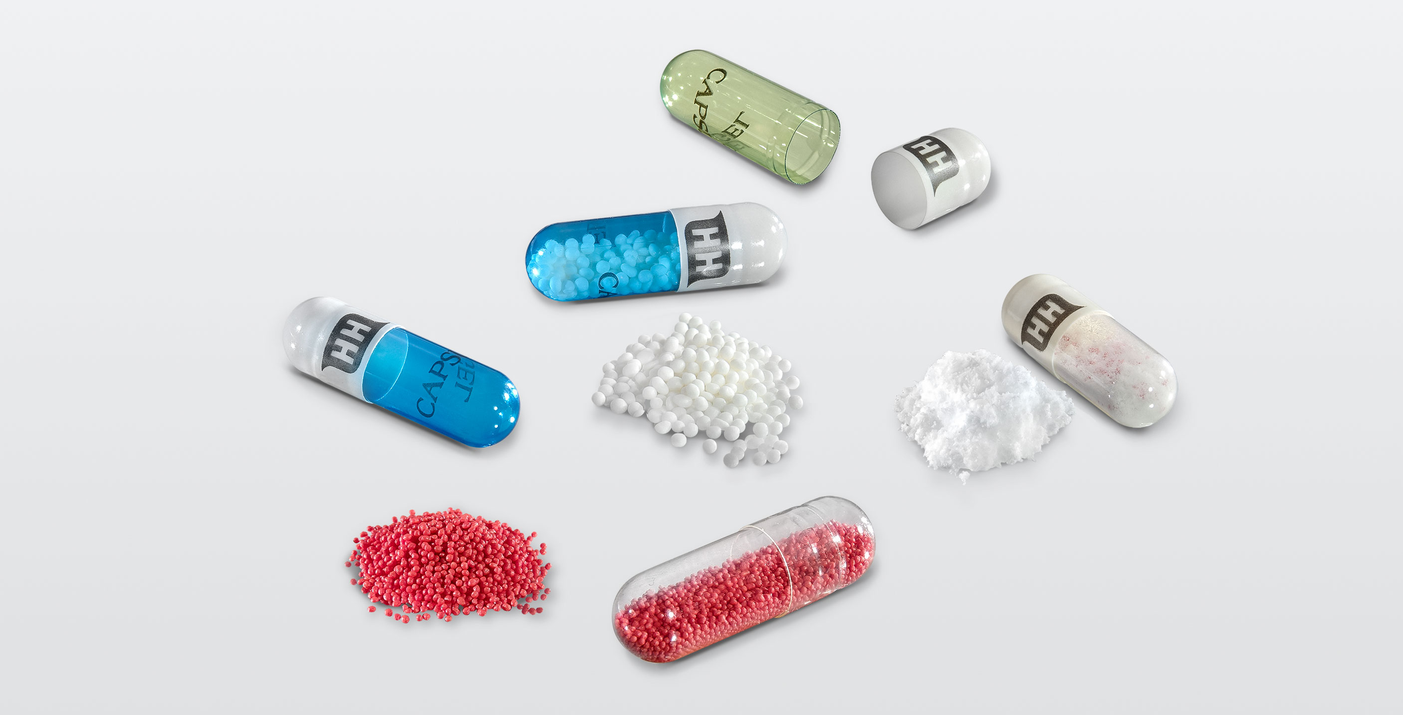 Hard capsules can be filled with powder als well as with pellets